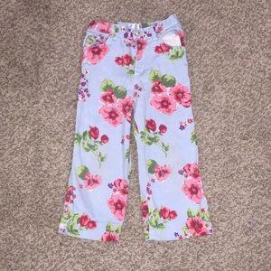 Pink blue floral pattern jeans
